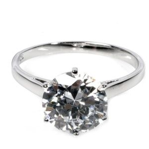 Solitaire Sterling Silver Ring, Sizes 10 & 10.5
